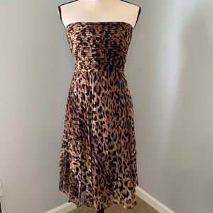 THE LIMITED Strapless animal print dress